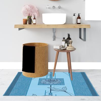 Xốp thảm phòng tắm PVC 65cm x 15m in họa tiết hoa hồng xanh