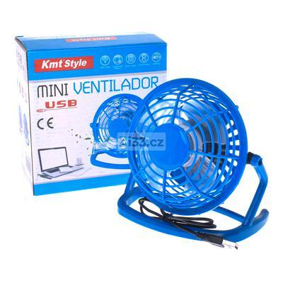 KMT quạt điện nhựa mini USB màu xanh dương 18cm