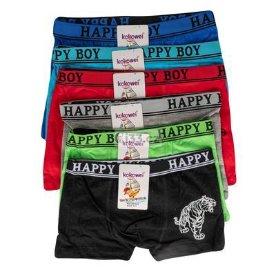Kokowei boxer trẻ em hình con hổ một bên viền và viền chữ Happy Boy AE024